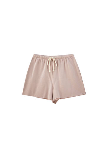 Beige drawstring shorts