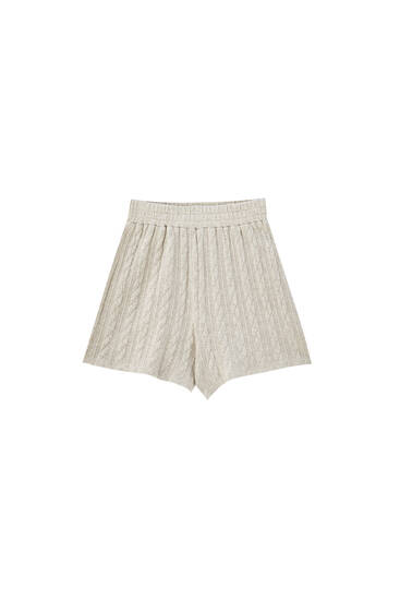 Cable-knit Bermuda shorts