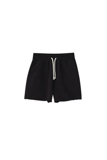 Jogger Bermuda shorts with contrast drawstring