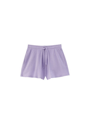 Check texture cotton shorts - 100% ecologically grown cotton