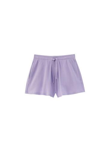Check texture cotton shorts - 100% ecologically grown cotton