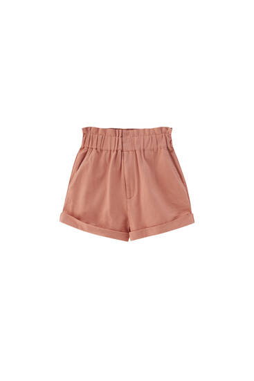 Paperbag Bermuda shorts with elasticated waistband