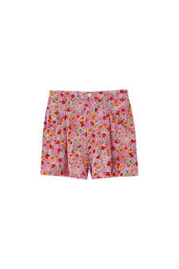 Floral Bermuda shorts with pockets