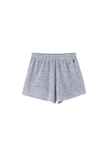 Striped towel fabric shorts