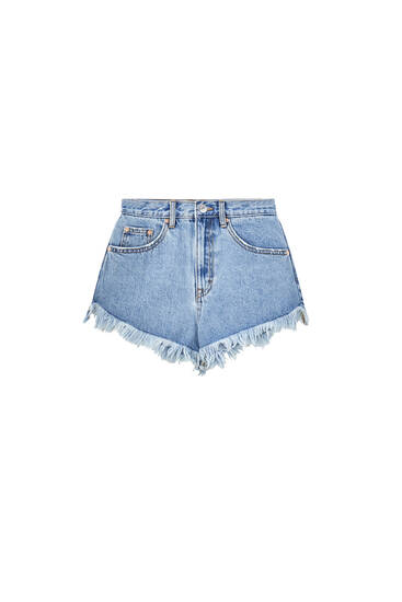 High-rise denim shorts - ecologically grown cotton (at least 50%)