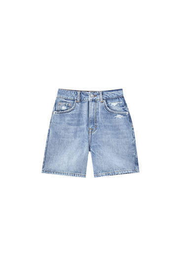 High-waist denim Bermuda shorts - contains recycled cotton
