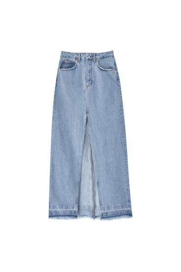 Long denim skirt with front slit