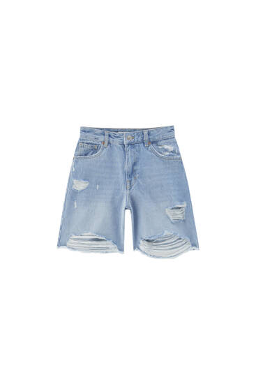 Long ripped denim Bermuda shorts - contains recycled cotton