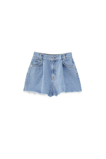 Denim Bermuda shorts with darts - Contains recycled cotton
