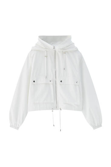 Short hooded nylon jacket