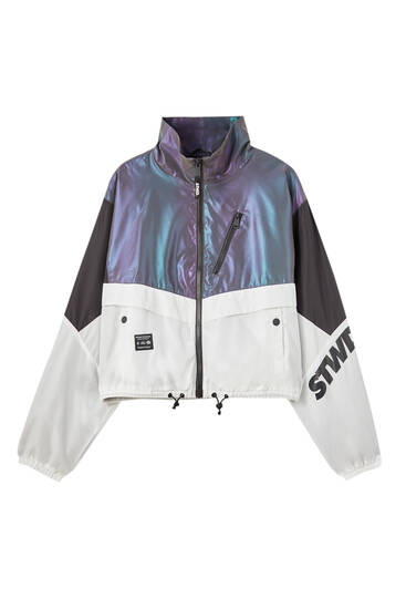 Iridescent fabric colour block jacket