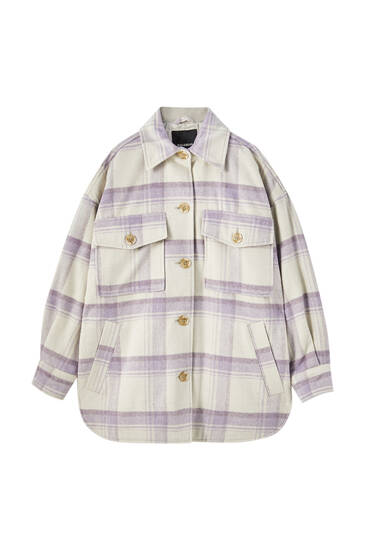 Synthetic wool check overshirt with pockets