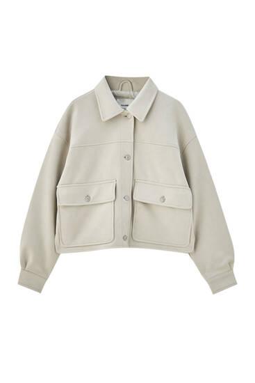 Kratka jakna od imitacije brušene kože