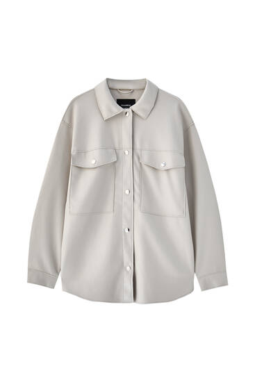 Overshirt with snap buttons and pockets
