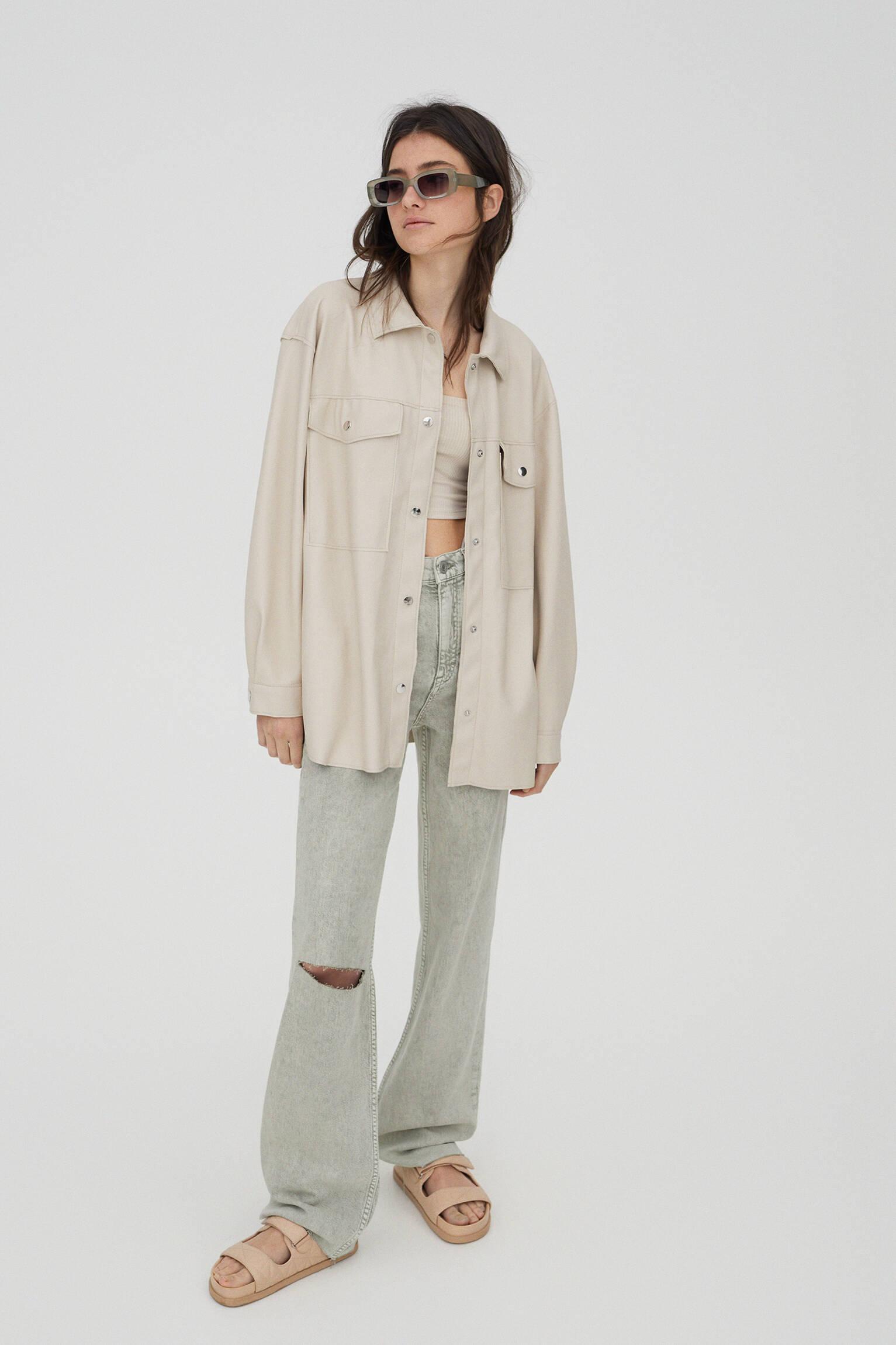 Куртка-рубашка с кнопками и карманами ЭКРЮ Pull & Bear