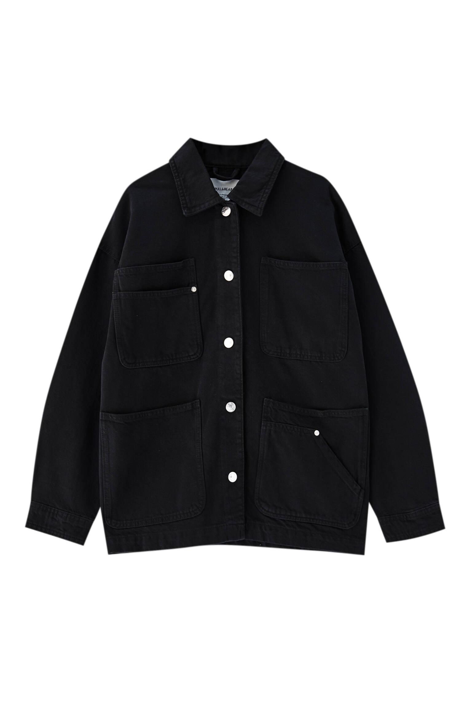 ЛИНЯЛЫЙ ЧЕРНЫЙ Куртка в стиле сафари - не менее 50% органического хлопка Pull & Bear