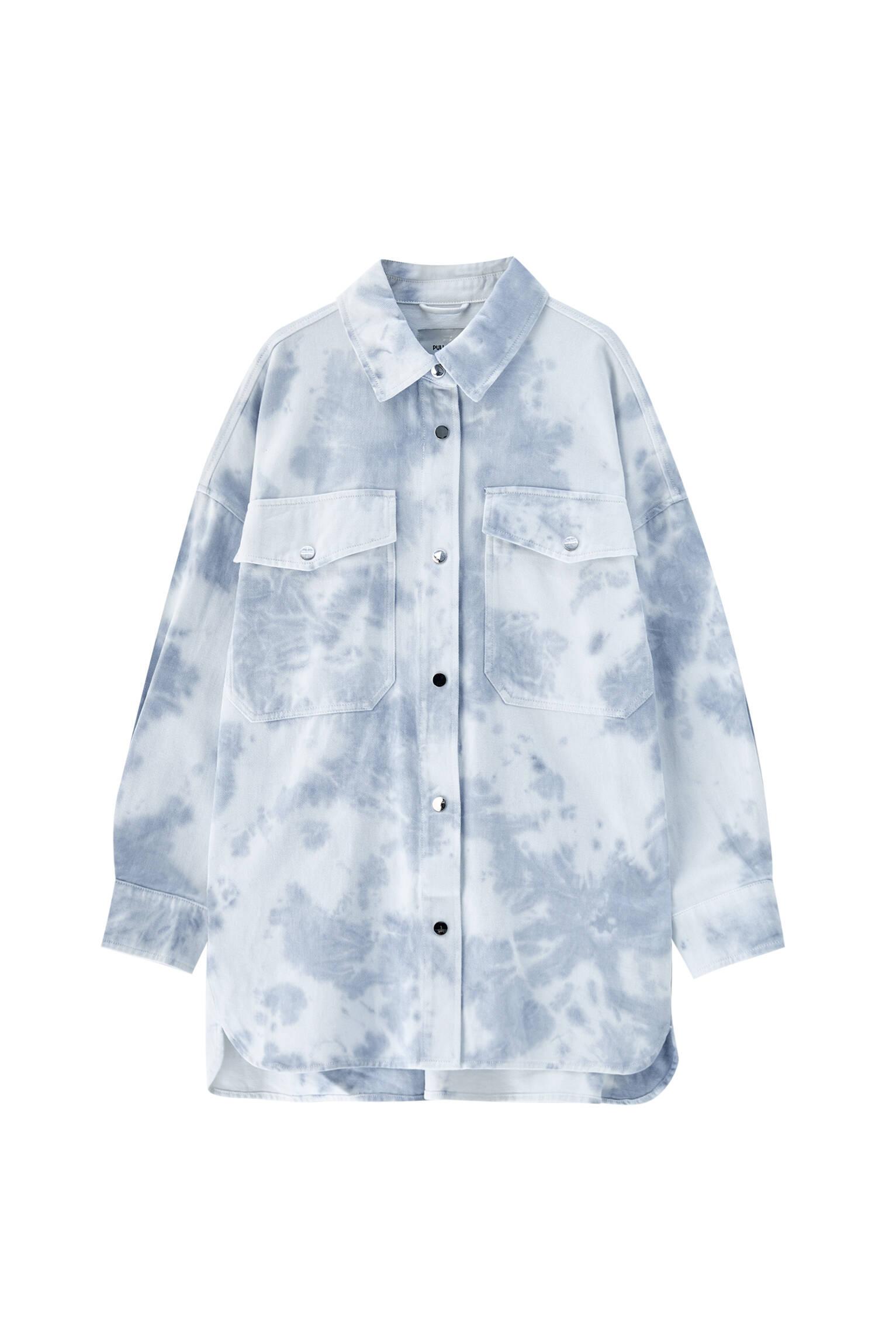 0-044 Куртка-рубашка с принтом тай-дай и передними карманами Pull & Bear