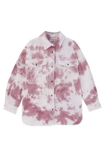 Tie-dye overshirt with front pockets