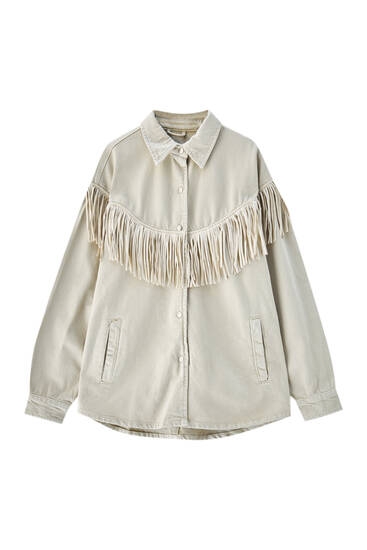 Beige fringe overshirt - 100% ecologically grown cotton