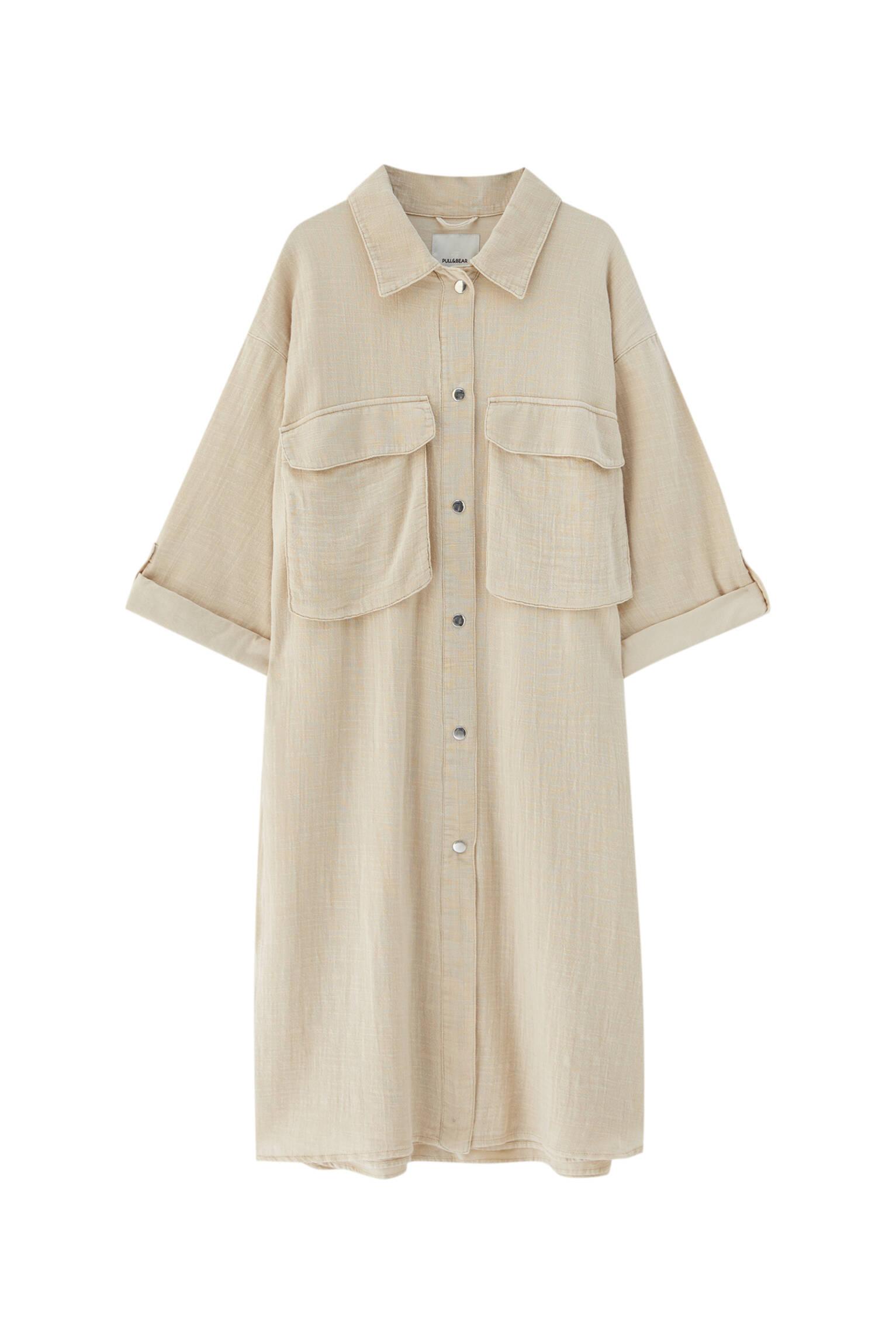 ЭКРЮ Удлиненная куртка-рубашка в стиле рустик Pull & Bear