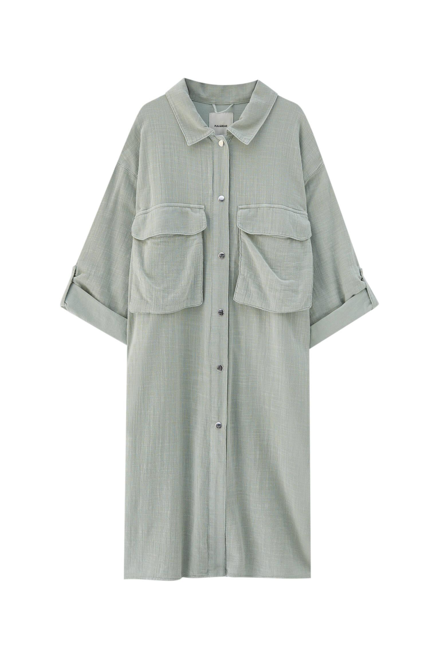 ЦВЕТ МОРСКОЙ ВОЛНЫ Удлиненная куртка-рубашка в стиле рустик Pull & Bear