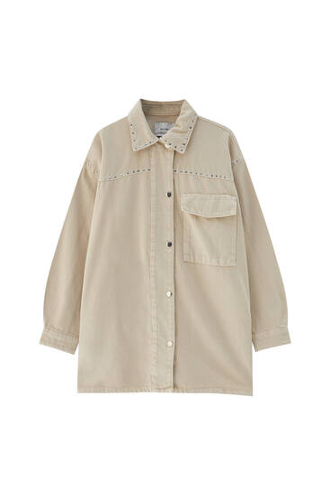 Sand-coloured studded overshirt - at least 50% ecologically grown cotton