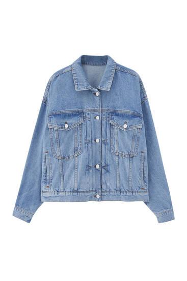 Veste en jean bleu plissée