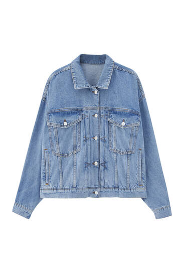 Blue pleated denim jacket