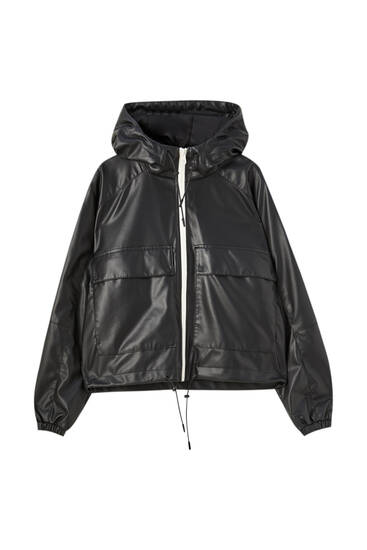Faux leather cropped raincoat