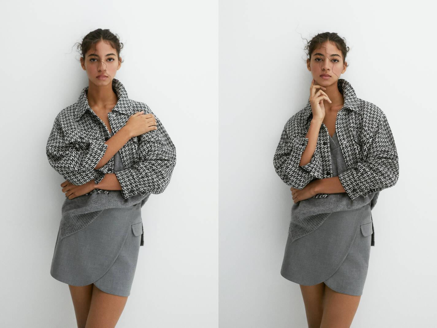 Укороченная куртка рубашечного кроя в клетку БЕЛЫЙ / ЧЕРНЫЙ Pull & Bear