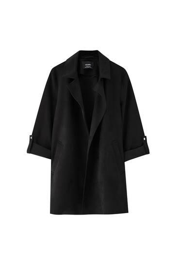 Manteau suédine manches retroussées