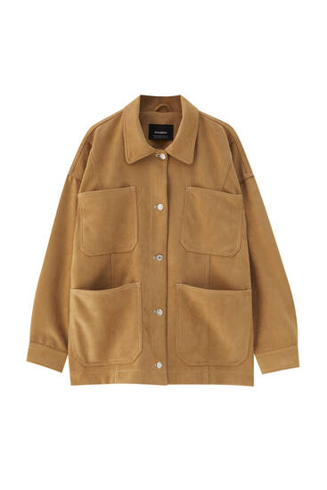 Faux suede camel safari jacket