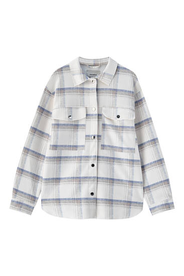 Faux suede check overshirt