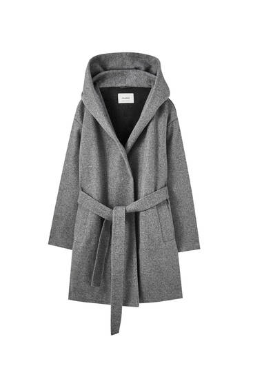 Grey knit coat with hood