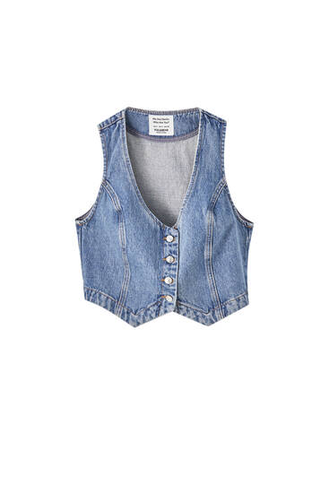 Tailored denim vest