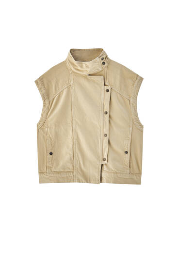 Collared beige gilet with snap buttons - contains recycled cotton