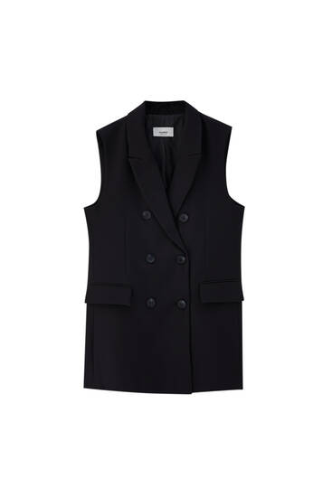 Crossover waistcoat with lapel collar