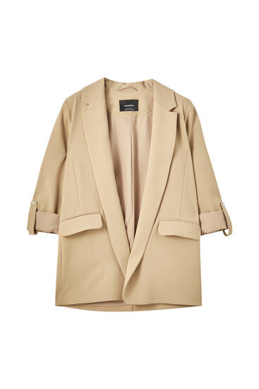 Basic blazer with rolled-up sleeves