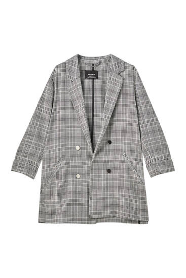 Check blazer with turn-up sleeves