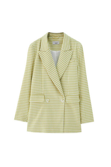 Green gingham blazer