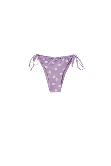 Tied bikini bottoms with gathered detail - recycled polyester (at least 50%)
