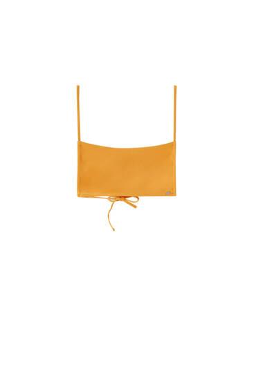 Bandeau bikini top with cross detail
