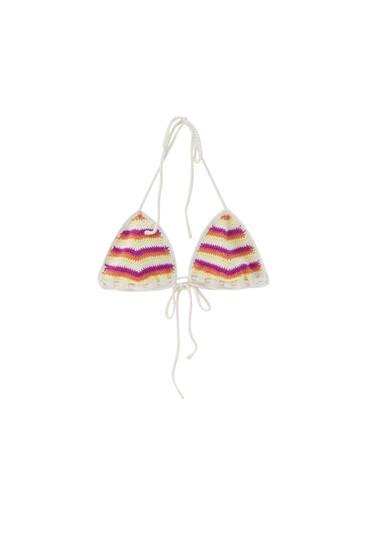Top bikini crochet rayas