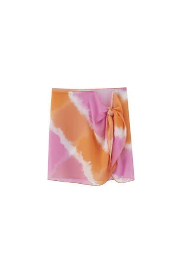 Printed wrap skirt