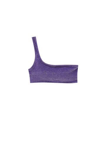 Asymmetric purple bikini top