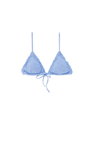 Blue Swiss embroidery bikini top