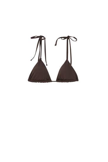 Haut de bikini marron bord-côte