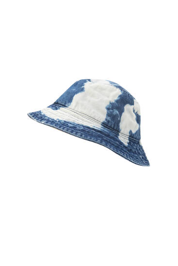Tie-dye denim bucket hat
