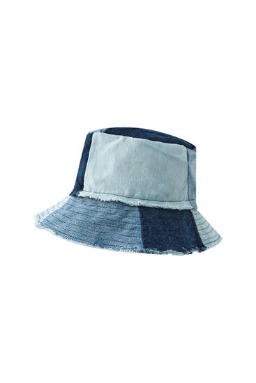 Cappello a secchiello patchwork in denim