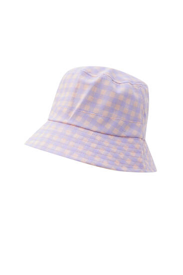 Gingham check bucket hat